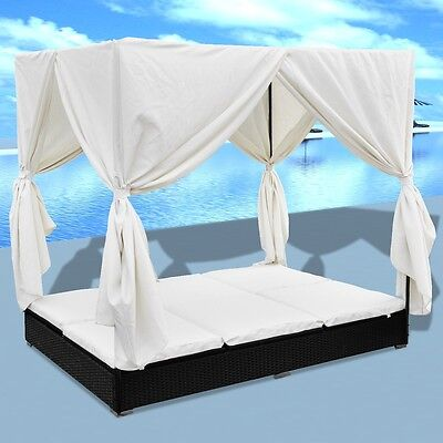 Outdoor Black Rattan Sun Bed Wicker Lounger Pool Garden Recliner Curtain Daybed