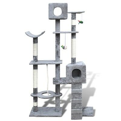 Cat Tree 175 Grey Pet Scratcher Post Condo Poles House Gym Furniture Scratching