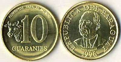 Paraguay 1996 10 Guaranies 10 Uncirculated Coin Lot (KM178a)