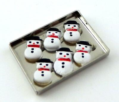 Dolls House Snowman Cooking on Baking Tray Miniature Kitchen Christmas Accessory