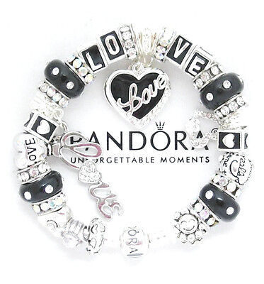 Authentic Pandora Silver Bracelet Black LOVE Angel Wife Mom European Charms New