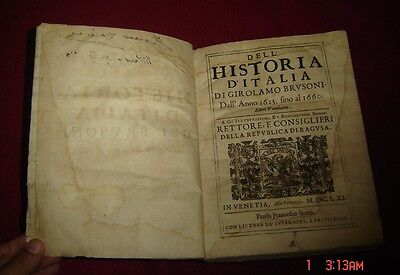 Antique Book History of Italy 1625-1660 Original by Girolamo Brusoni Dated 1661.