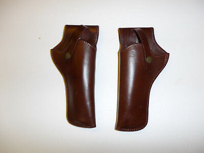 b6941 General Patton Brown Leather Holsters left and right six shooter