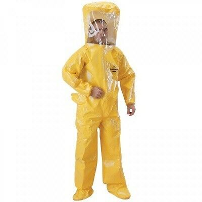 """Tychem Br400 3X Flat Back Rear 20Mil Lens 48"""" Entry Chemical Suit Yellow Ppe(98)"""
