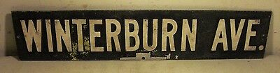 Vintage Cast Aluminum Blue White Winterburn Ave Street Sign Blue Putnum