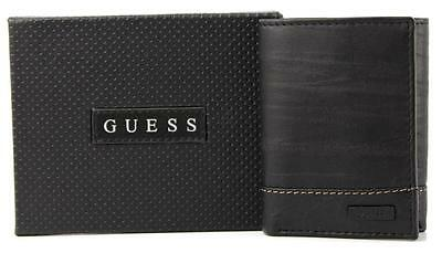 New Guess Men's Leather Credit Card Id Wallet Passcase Trifold Black 31Gu11X005