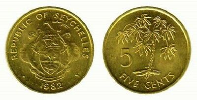 Seychelles 1982 5 Cents 10 Uncirculated Coin Lot (KM47.1)