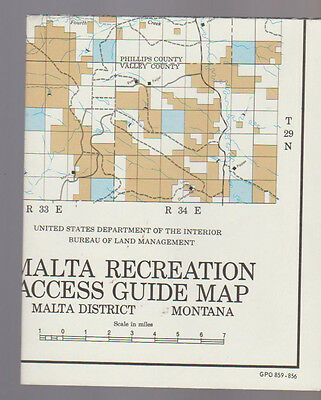 Malta Recreation Access Guide Map Montana 1970s