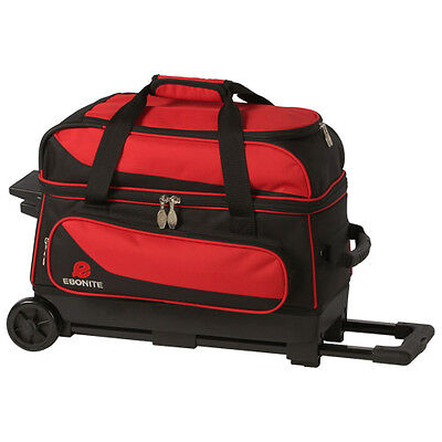 Ebonite Transport 2 Ball Roller Bowling Bag with Wheels Red 5 Year Warranty