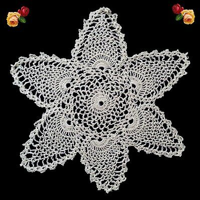 Vintage Hand Crochet Floral Pineapple Doily Scallop Ecru Star Feathers Shells