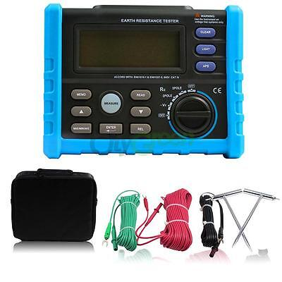 LCD Digital Auto/Manual Range Earth Ground Resistance Meter Tester 0-4K Ohm