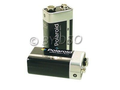 2 x Polaroid 9v PP3 Super Heavy Duty Battery