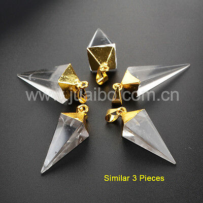 3Pcs Gold Plated Pyramid Point Natural Rock Clear Quartz Crystal Pendant GG1006