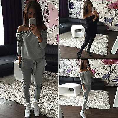 Casual Women Off The Shoulder Tracksuit pullover 2PC Sportsuit jogger Sweatshirt