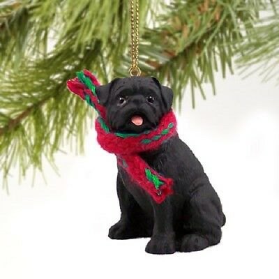 PUG Dog ORNAMENT Resin Figurine statue NEW black puppy Christmas Holiday