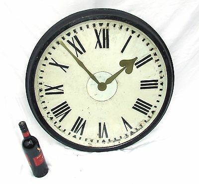 Antique Cast Iron Railway Clock /  Turret Clock Face Dial with Surround & Glass