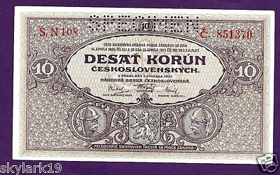 CZECHOSLOVAKIA 10 KORUN SPECIMEN P20s AU 1927  HUSITE SOLDIER, GIRL BOTH LEFT-RT