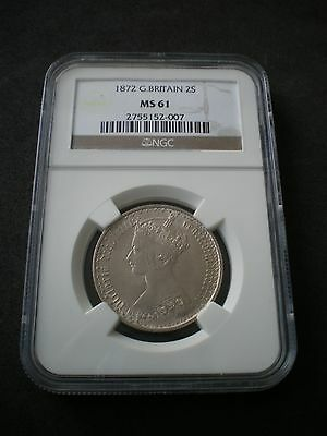 1872 Queen Victoria Florin Two Shilling 2/- Coin NGC MS61