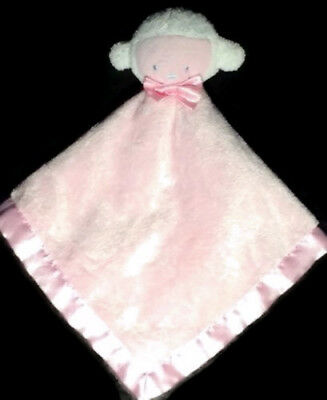 Baby Essentials Pink Lamb Sheep Lovey Security Blanket Satin White Rattle