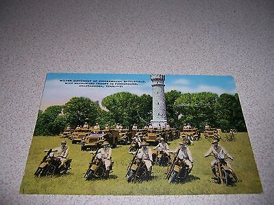 1930s MOTORCYCLE TROOPS at CHICKAMAUGA BATTLEFIELD CHATTANOOGA TN LINEN POSTCARD