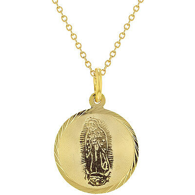 """18k Gold Plated Virgin of Guadalupe Medal Pendant Necklace Religious 19"""""""