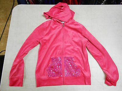 GAS Girl's Velour Tracksuit Set, L 10-12, Hot Pink