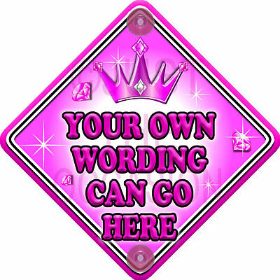 DIY PINK GEM Princess Personalise it with your own words. Baby on Board Car Sign