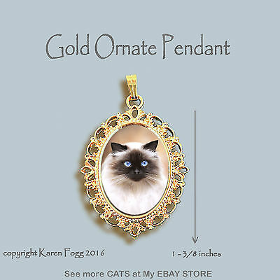 HIMALAYAN LONGHAIR Cat -ORNATE GOLD PENDANT NECKLACE