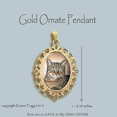 TABBY SHORTHAIR Pretty Face Cat - ORNATE GOLD PENDANT NECKLACE