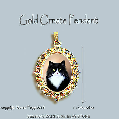 TUXEDO LONGHAIR Black and White Cat - ORNATE GOLD PENDANT NECKLACE