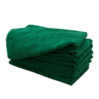 "8 DARK GREEN 15"" X 24"" Microfiber Salon Bleach Chemical Resistant Towels Safe"