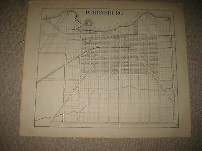 Antique 1912 Perrysburg City Wood County Ohio Map Railroad Detailed Superb Nr