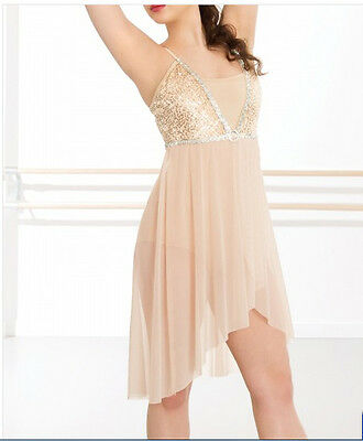 In Stock Ivory Sequin Short Lyrical Contemporary Dress Dance Costume All Sizes