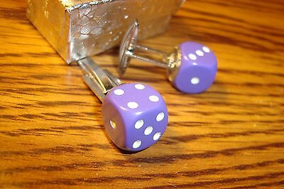 "Purple & White 1/2"" 12mm Lucky ""7"" Dice Cuff links 1 Pair (Two) Silver Plated"