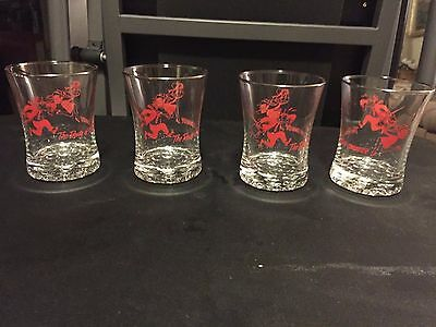 VINTAGE THE ROUTE OF THE DASHING COMMUTER LIRR BARWARE GLASSES set of 4