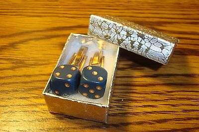 "Dusty Blue-Gold 1/2"" 12mm Lucky ""7"" Dice Cuff links 1 Pair (Two) * Gold Plated"