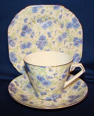 Lorn Nelson Pansy Chintz Cup & Saucer & Plate Trio