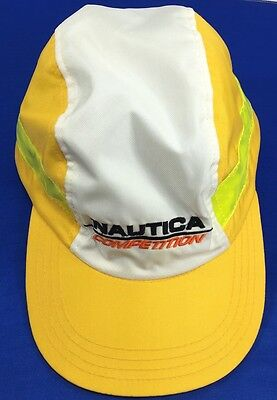 90 s Vintage Hat NAUTICA COMPETITION Sailing ADJUSTABLE White Yellow 5  Panel Cap 2689dee935d