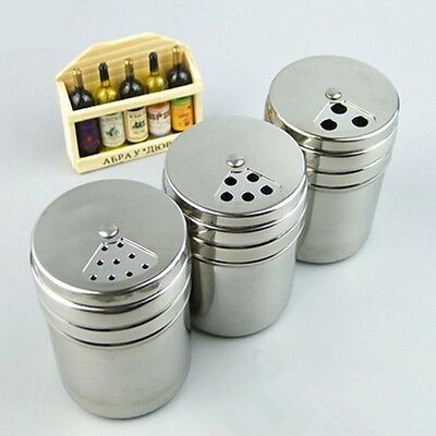 Stainless Spice Shaker Jar Sugar Salt Pepper Herbs Toothpick Storage Bottle BBQ