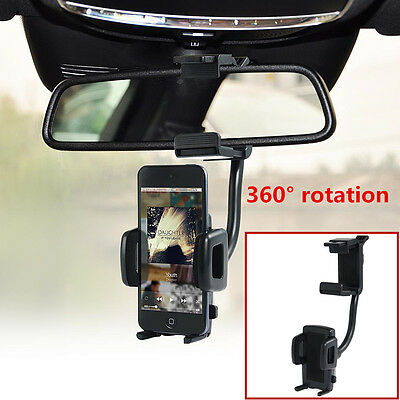 Car Rearview Mirror Mount Cell Phone Holder Bracket 360° Rotation For All phones