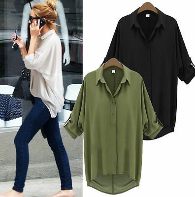 Fashion Women Casual Long Sleeve Chiffon Blouse T Shirt Summer Loose Tops Blouse