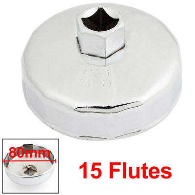 "1/2"" Square Drive 15 Flutes Metal Oil Filter Wrench 74mm for GM CHRYSLER"