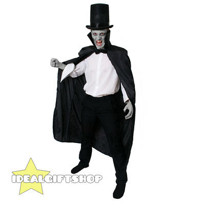 Black Cape Halloween Vampire Fancy Dress Costumes Mens Womens High Collar Cloak