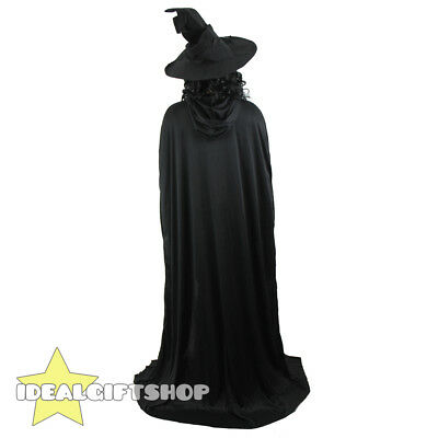 Black Hooded Cape Halloween Vampire Fancy Dress Costumes Mens Womens Cloak