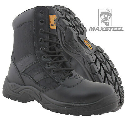 Mens Leather Safety Boot Army Military Police Steel Toe Cap Combat Work Shoes Sz