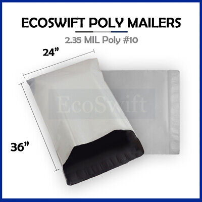 1 24 x 36 LARGE White Poly Mailers Shipping Envelopes Self Sealing Bags 2.35 MIL