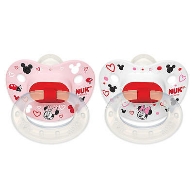New NUK Disney Baby 0-6 Months 2 Pack Silicone Pacifier - Minnie Mouse