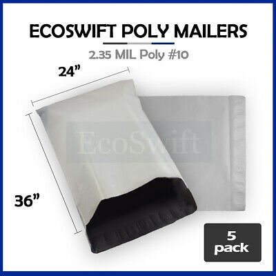 5 24 x 35 LARGE White Poly Mailers Shipping Envelopes Self Sealing Bags 2.35 MIL