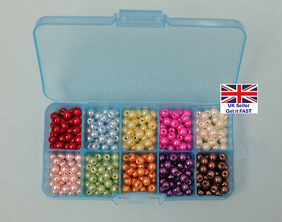 6mm GLASS PEARL BEADS Mixed Colour Box (BX113) - FREE POSTAGE