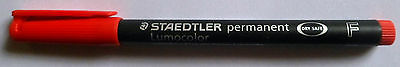 Staedtler Lumocolor Permanent Marker Pen - fine tip, 0.6mm, Red, FREEPOST!